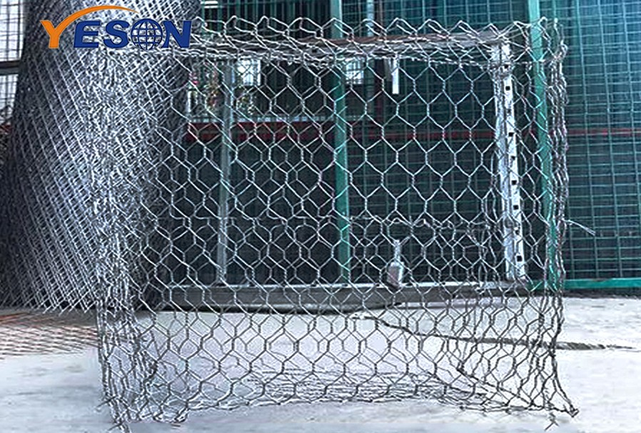 Where is the electric welded gabion cage structure used?